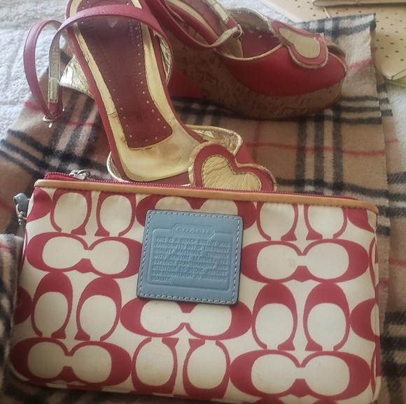 Coach Handbags - Coach— Red, white & blue wristlet